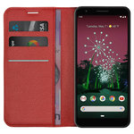 Leather Wallet Case & Card Holder Pouch for Google Pixel 3a - Red